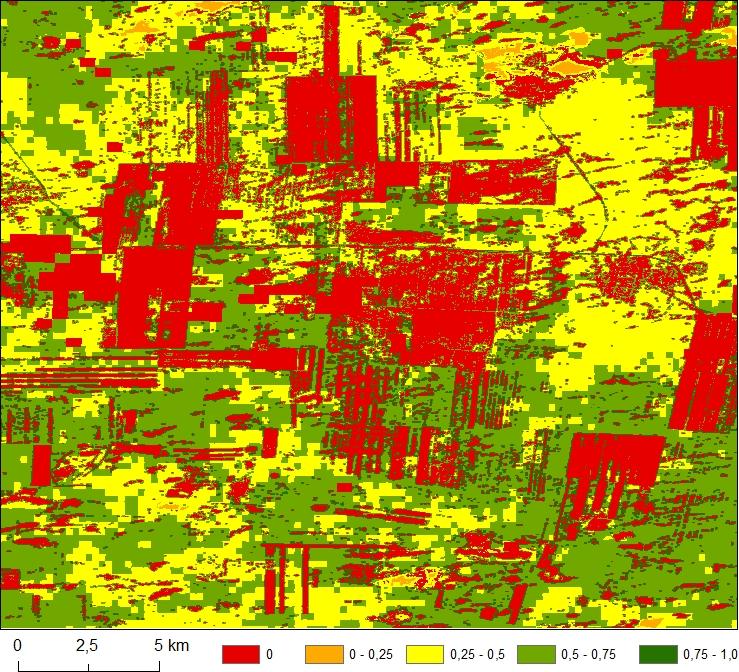 Habitatsuitability-Kartierung der Italienischen Heuschrecke (CIT) in der Region Pavlodar basierend auf Fernerkundungs- und Klimadaten. © Locust-Tec Project